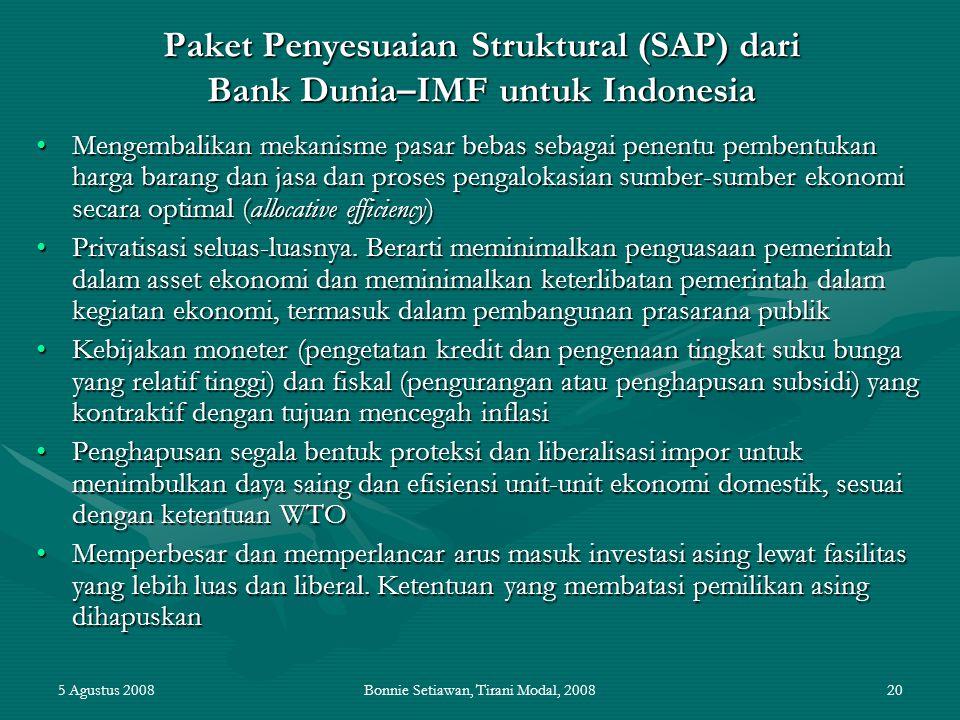 5 Agustus 2008Bonnie Setiawan, Tirani Modal, 200820 Paket Penyesuaian Struktural (SAP) dari Bank Dunia–IMF untuk Indonesia Mengembalikan mekanisme pas
