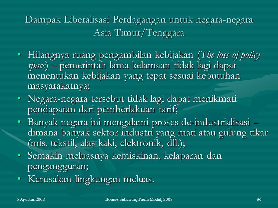 5 Agustus 2008Bonnie Setiawan, Tirani Modal, 200836 Dampak Liberalisasi Perdagangan untuk negara-negara Asia Timur/Tenggara Hilangnya ruang pengambila