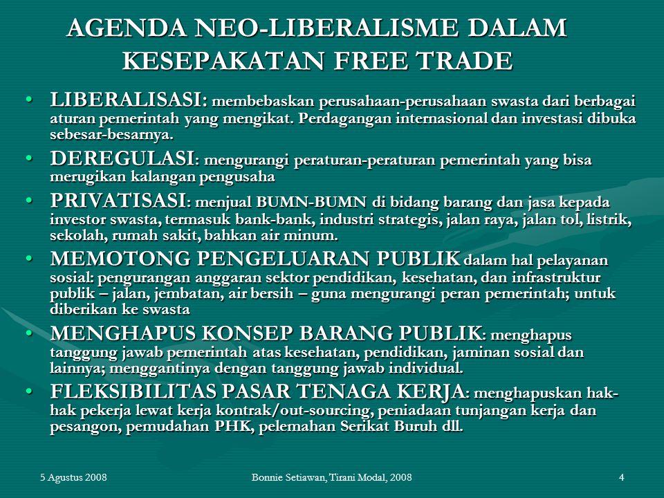 5 Agustus 2008Bonnie Setiawan, Tirani Modal, 20084 AGENDA NEO-LIBERALISME DALAM KESEPAKATAN FREE TRADE LIBERALISASI: membebaskan perusahaan-perusahaan