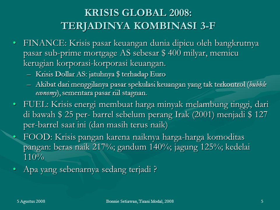 5 Agustus 2008Bonnie Setiawan, Tirani Modal, 20085 KRISIS GLOBAL 2008: TERJADINYA KOMBINASI 3-F FINANCE: Krisis pasar keuangan dunia dipicu oleh bangk