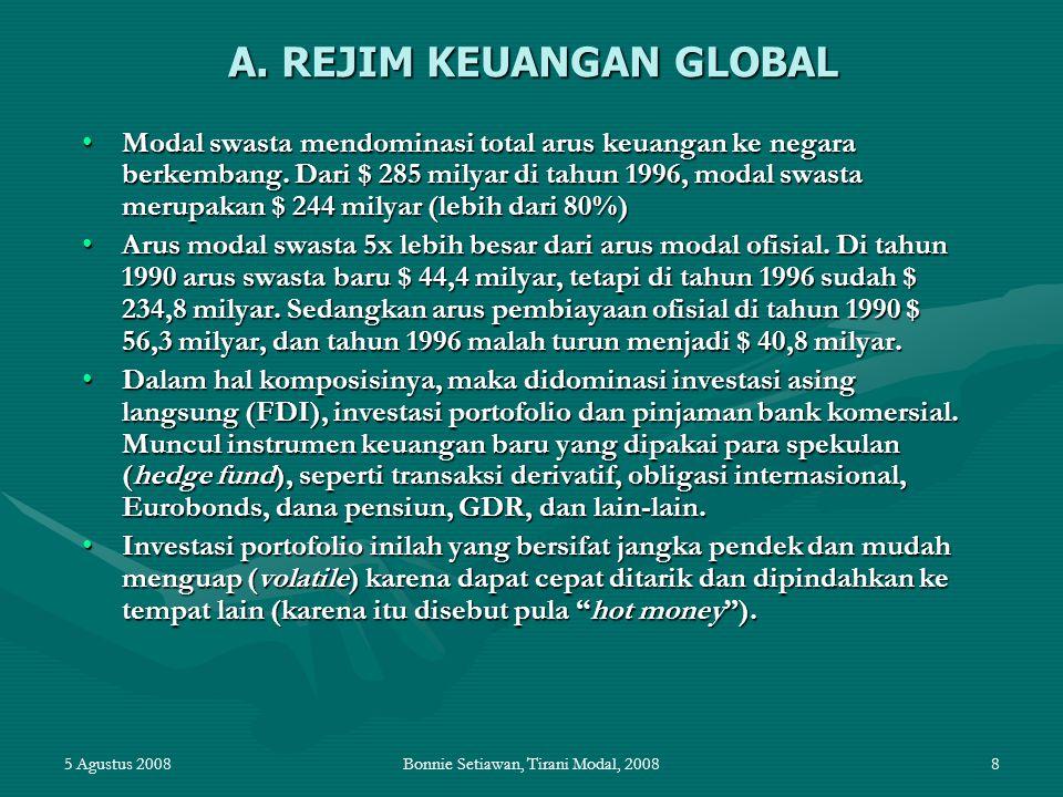 5 Agustus 2008Bonnie Setiawan, Tirani Modal, 200839 Bilateral Investment Treaties (BIT) Sejak 1950an hingga kini, telah ada sekitar 2.200 BITs di dunia (data dari UNCTAD, World Investment Report 2003)Sejak 1950an hingga kini, telah ada sekitar 2.200 BITs di dunia (data dari UNCTAD, World Investment Report 2003) Ciri-ciri utama BIT:Ciri-ciri utama BIT: –Jaminan akan hak-hak investor asing akan repatriasi keuntungan dan dana-dana terkait investasi lainnya; –Hak atas perlakuan 'most-favoured nation' (MFN) – perlakuan yang sama antara satu negara dengan negara lainnya; –Hak atas perlakuan 'national treatment' (NT) – perlakuan yang sama dengan pelaku usaha dalam negeri; –Hak atas kompensasi bila terjadi nasionalisasi, penyitaan atau bentuk-bentuk pengambil-alihan lainnya; –Jaminan atas perlakuan standard minimum internasional; –Adanya sistem penyelesaian sengketa berdasar negara-ke-negara atau investor-ke-negara