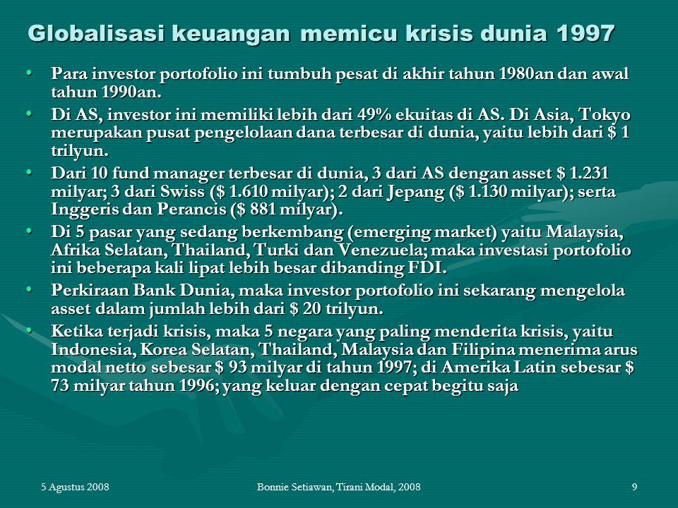 5 Agustus 2008Bonnie Setiawan, Tirani Modal, 20089 Globalisasi keuangan memicu krisis dunia 1997 Para investor portofolio ini tumbuh pesat di akhir ta