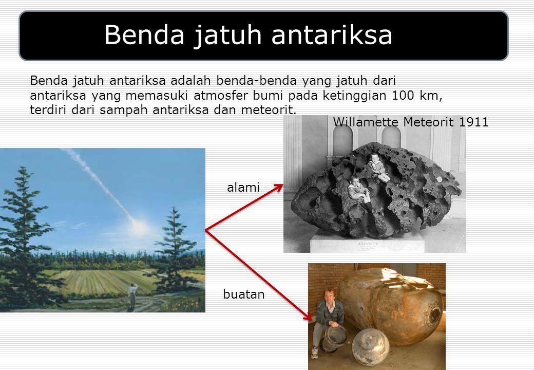 Benda jatuh antariksa Benda jatuh antariksa adalah benda-benda yang jatuh dari antariksa yang memasuki atmosfer bumi pada ketinggian 100 km, terdiri dari sampah antariksa dan meteorit.