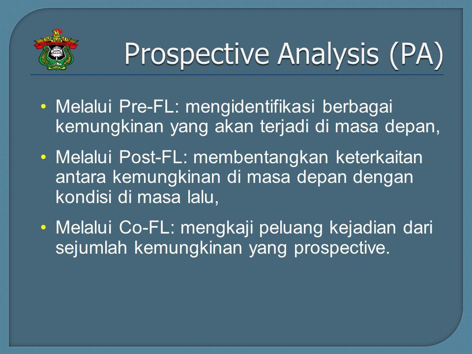 Melalui Pre-FL: mengidentifikasi berbagai kemungkinan yang akan terjadi di masa depan, Melalui Post-FL: membentangkan keterkaitan antara kemungkinan di masa depan dengan kondisi di masa lalu, Melalui Co-FL: mengkaji peluang kejadian dari sejumlah kemungkinan yang prospective.