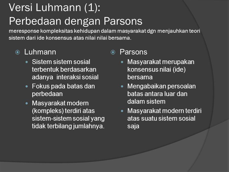 Versi Luhmann (1): Perbedaan dengan Parsons meresponse kompleksitas kehidupan dalam masyarakat dgn menjauhkan teori sistem dari ide konsensus atas nilai nilai bersama.