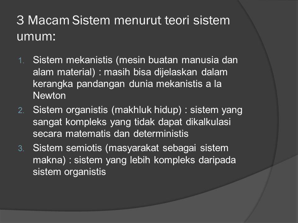 3 Macam Sistem menurut teori sistem umum: 1.
