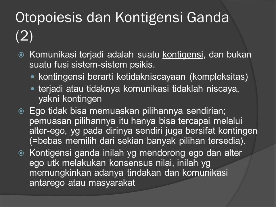 Otopoiesis dan Kontigensi Ganda (2)  Komunikasi terjadi adalah suatu kontigensi, dan bukan suatu fusi sistem-sistem psikis.