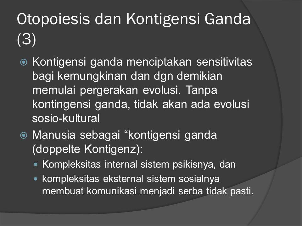 Otopoiesis dan Kontigensi Ganda (3)  Kontigensi ganda menciptakan sensitivitas bagi kemungkinan dan dgn demikian memulai pergerakan evolusi.