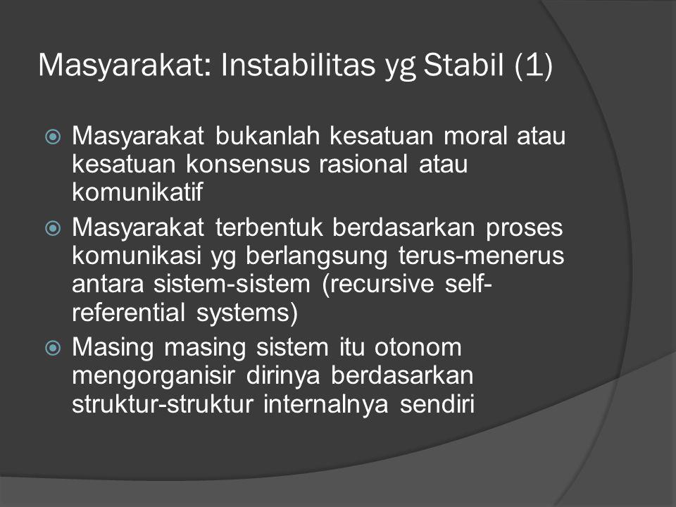 Masyarakat: Instabilitas yg Stabil (1)  Masyarakat bukanlah kesatuan moral atau kesatuan konsensus rasional atau komunikatif  Masyarakat terbentuk berdasarkan proses komunikasi yg berlangsung terus-menerus antara sistem-sistem (recursive self- referential systems)  Masing masing sistem itu otonom mengorganisir dirinya berdasarkan struktur-struktur internalnya sendiri