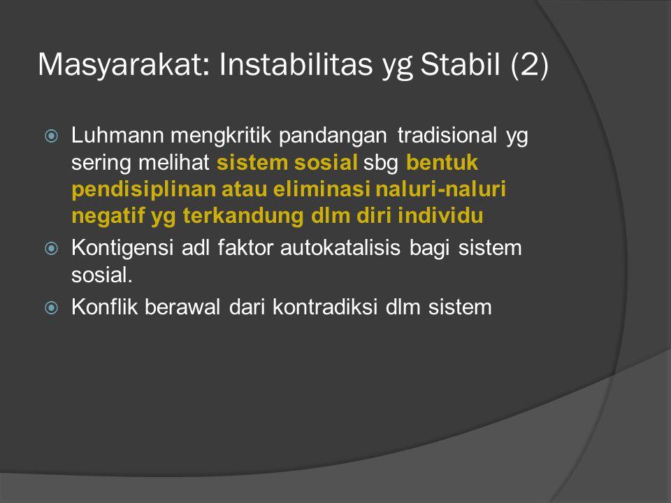 Masyarakat: Instabilitas yg Stabil (2)  Luhmann mengkritik pandangan tradisional yg sering melihat sistem sosial sbg bentuk pendisiplinan atau eliminasi naluri-naluri negatif yg terkandung dlm diri individu  Kontigensi adl faktor autokatalisis bagi sistem sosial.