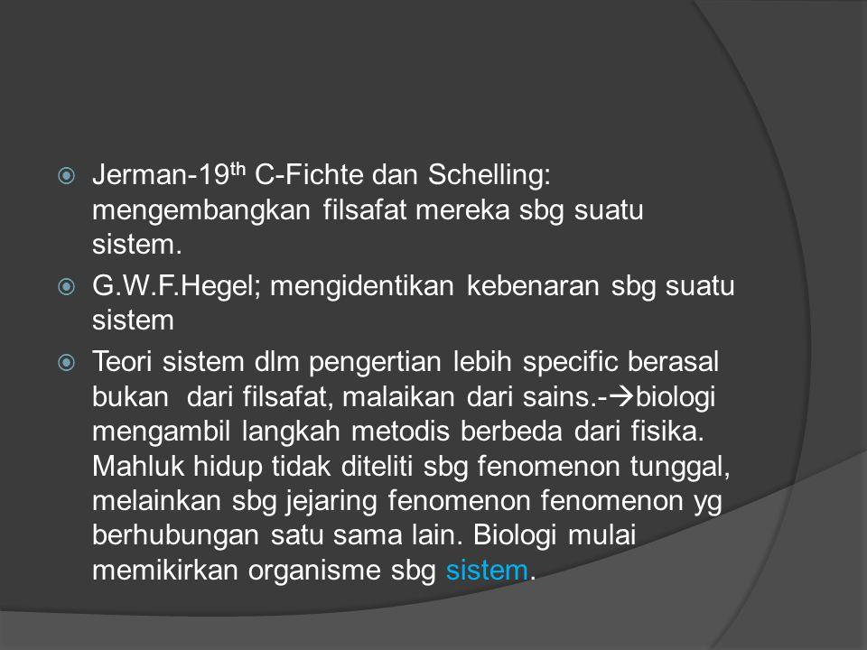  Jerman-19 th C-Fichte dan Schelling: mengembangkan filsafat mereka sbg suatu sistem.