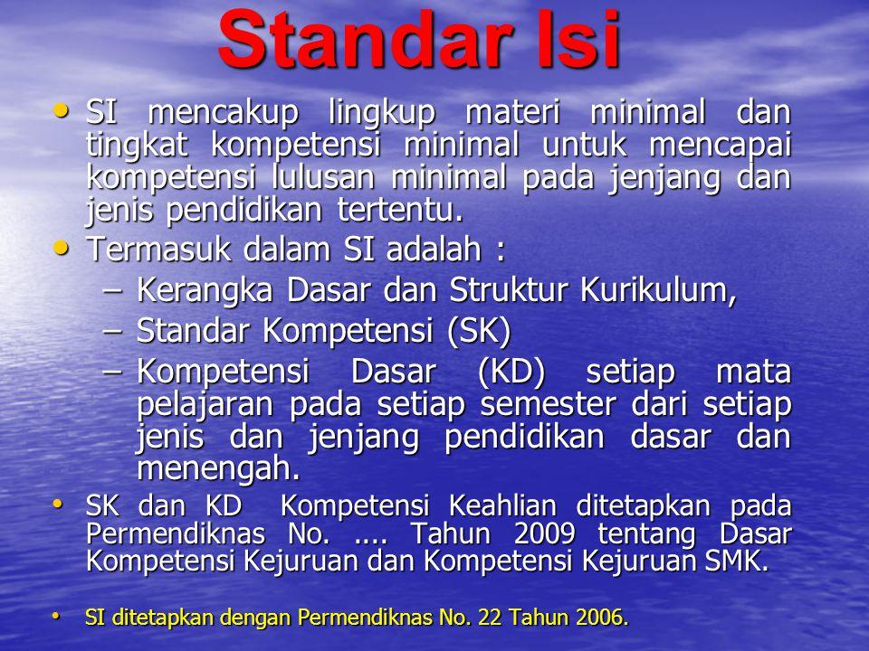 Standar Isi SI mencakup lingkup materi minimal dan tingkat kompetensi minimal untuk mencapai kompetensi lulusan minimal pada jenjang dan jenis pendidi