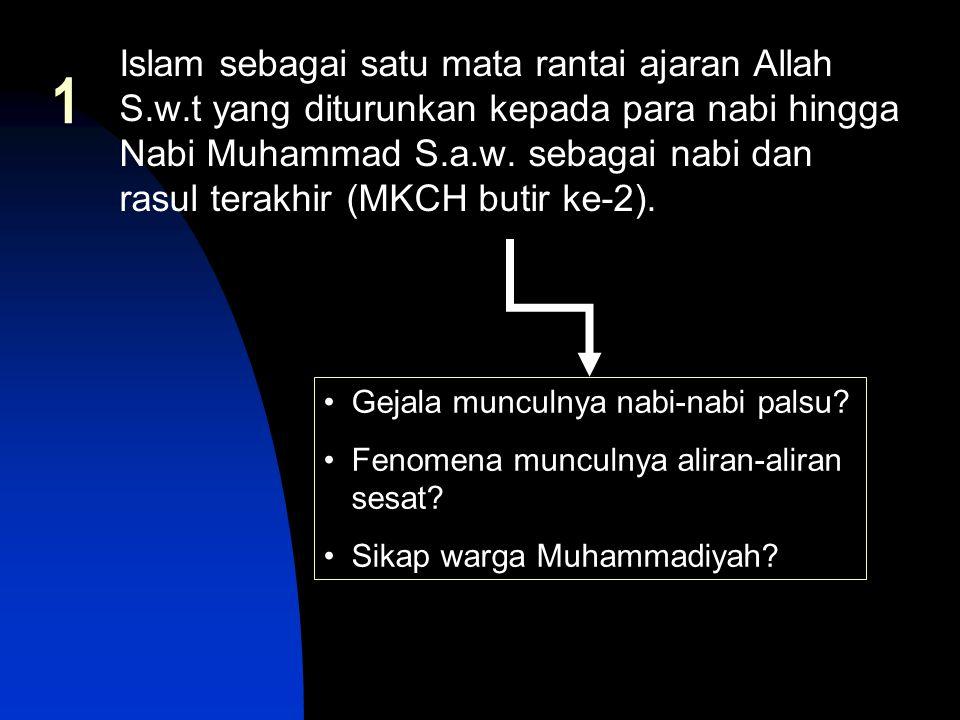 1 Islam sebagai satu mata rantai ajaran Allah S.w.t yang diturunkan kepada para nabi hingga Nabi Muhammad S.a.w. sebagai nabi dan rasul terakhir (MKCH