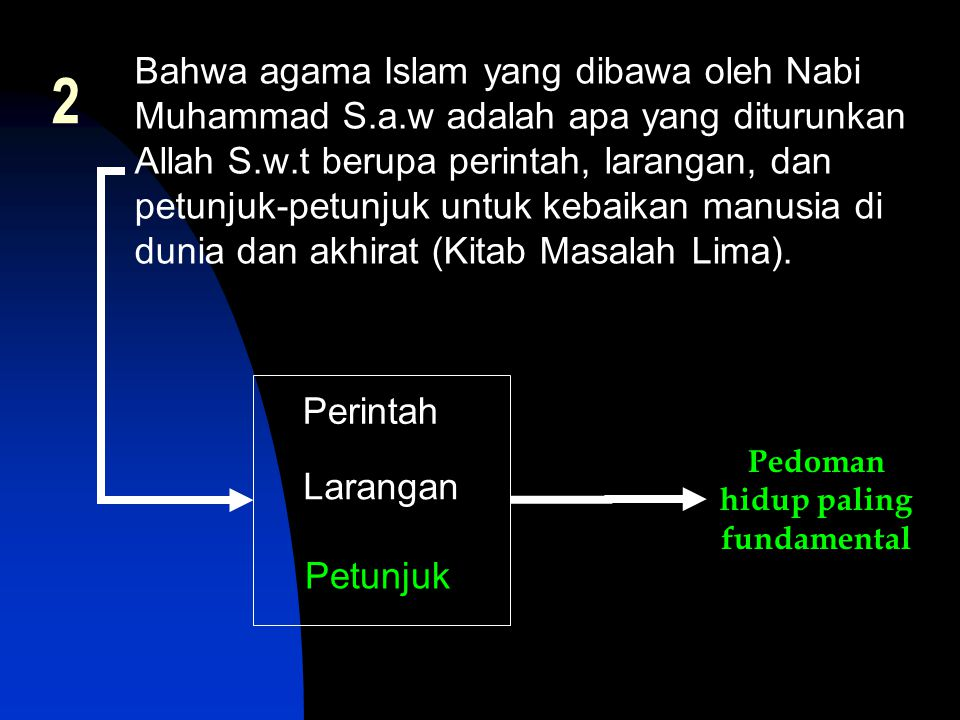 Bahwa agama Islam yang dibawa oleh Nabi Muhammad S.a.w adalah apa yang diturunkan Allah S.w.t berupa perintah, larangan, dan petunjuk-petunjuk untuk k