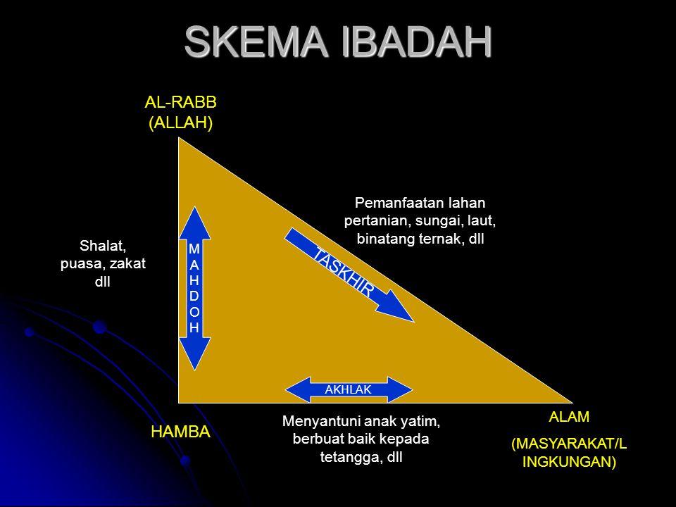 SKEMA IBADAH HAMBA AL-RABB (ALLAH) ALAM (MASYARAKAT/L INGKUNGAN) AKHLAK MAHDOHMAHDOH Menyantuni anak yatim, berbuat baik kepada tetangga, dll Shalat,