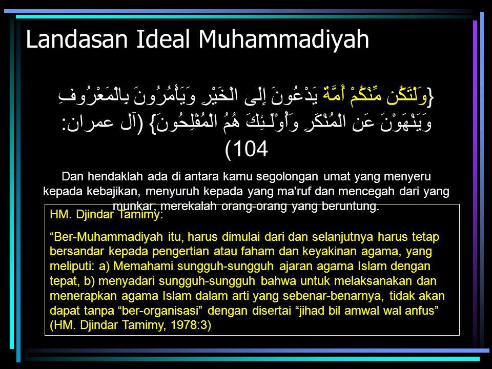 Landasan Ideal Muhammadiyah {وَلْتَكُن مِّنْكُمْ أُمَّةٌ يَدْعُونَ إِلَى الْخَيْرِ وَيَأْمُرُونَ بِالْمَعْرُوفِ وَيَنْهَوْنَ عَنِ الْمُنْكَرِ وَأُوْلَ