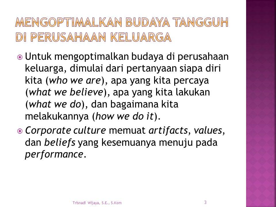  Untuk mengoptimalkan budaya di perusahaan keluarga, dimulai dari pertanyaan siapa diri kita (who we are), apa yang kita percaya (what we believe), apa yang kita lakukan (what we do), dan bagaimana kita melakukannya (how we do it).