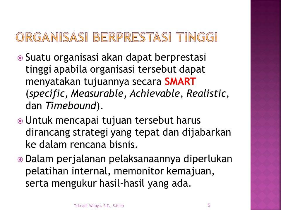  Suatu organisasi akan dapat berprestasi tinggi apabila organisasi tersebut dapat menyatakan tujuannya secara SMART (specific, Measurable, Achievable, Realistic, dan Timebound).