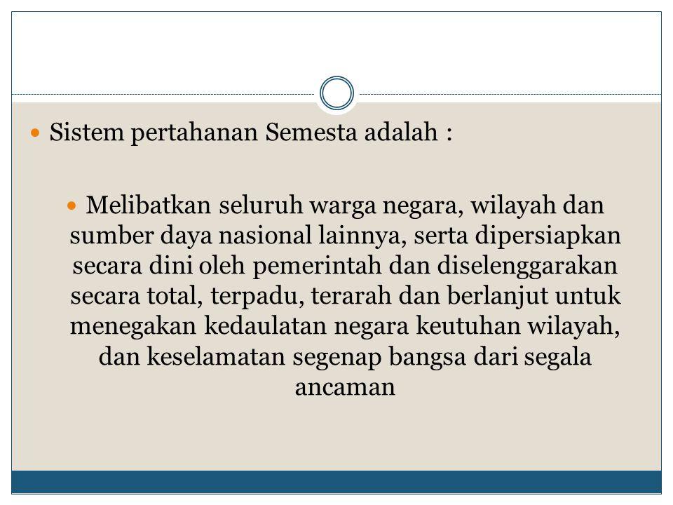 Konsep Sistem Pertahan Rakyat Semesta (Sishanrata) yang dianut oleh UU No 3/2002 karena untuk saat ini daya tangkal militer Indonesia sangat lemah (karena lemahnya perekonomian negara) apabila dibandingkan dengan negara-negara lain Dengan luas wilayah dan jumlah penduduk yang besar, maka hal ini akan menjadi pertahanan negara Indonesia untuk menutupi kelemahan dibidang militer
