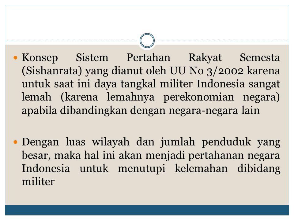 Konsep Sistem Pertahan Rakyat Semesta (Sishanrata) yang dianut oleh UU No 3/2002 karena untuk saat ini daya tangkal militer Indonesia sangat lemah (ka