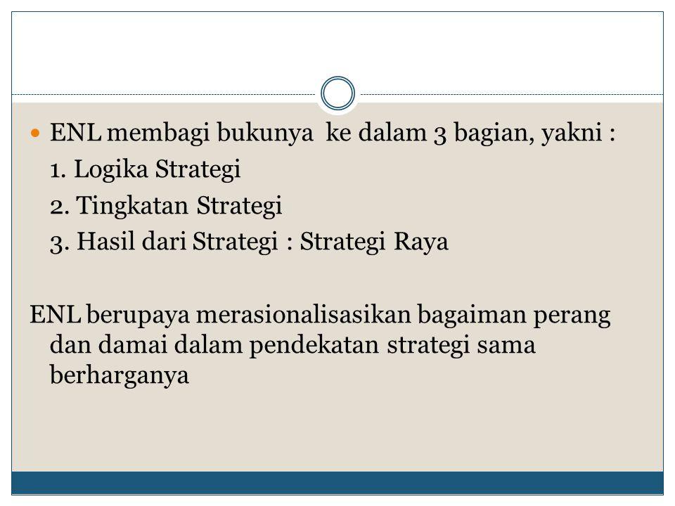 ENL membagi bukunya ke dalam 3 bagian, yakni : 1. Logika Strategi 2. Tingkatan Strategi 3. Hasil dari Strategi : Strategi Raya ENL berupaya merasional