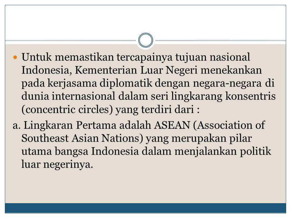 Untuk memastikan tercapainya tujuan nasional Indonesia, Kementerian Luar Negeri menekankan pada kerjasama diplomatik dengan negara-negara di dunia int