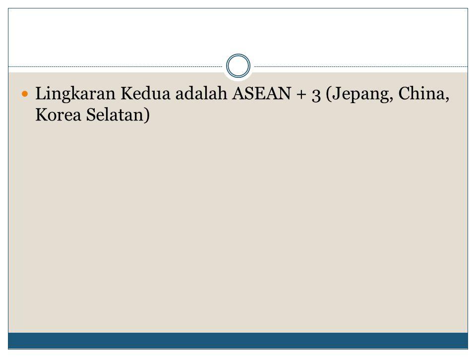 Lingkaran Kedua adalah ASEAN + 3 (Jepang, China, Korea Selatan)