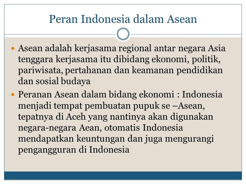 Peran Indonesia dalam Asean Asean adalah kerjasama regional antar negara Asia tenggara kerjasama itu dibidang ekonomi, politik, pariwisata, pertahanan