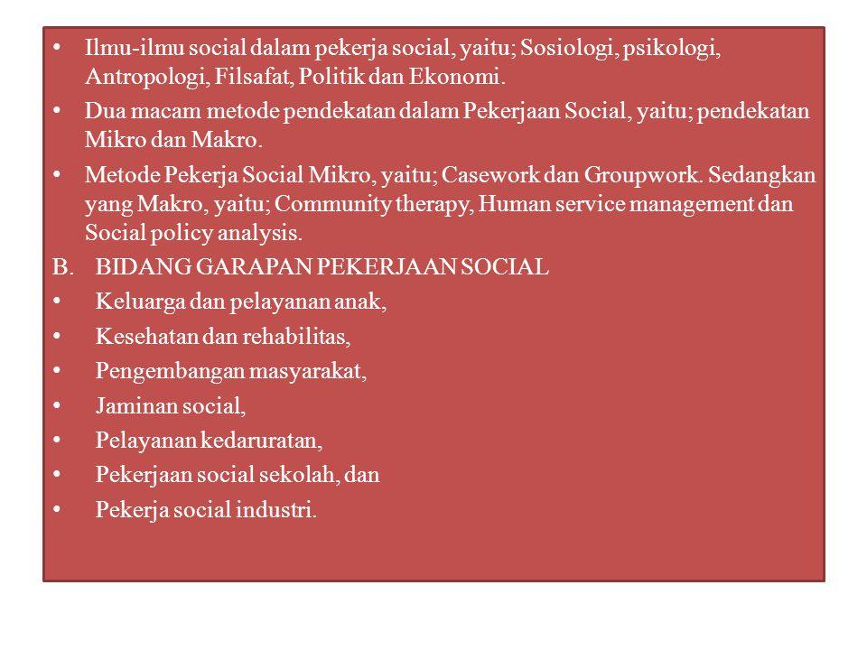 C.DEFINISI PEKERJAAN SOCIAL INDUSTRI Sebagai lapangan praktik peksos yang secara khusus menangani kebutuhan-kebutuhan kemanusiaan dan social di dunia kerja melalui berbagai intervensi dan penerapan metoda pertolongan yang bertujuan untuk memelihara adaptasi optimal antara individu dan lingkungannya, terutama lingkungan kerja.