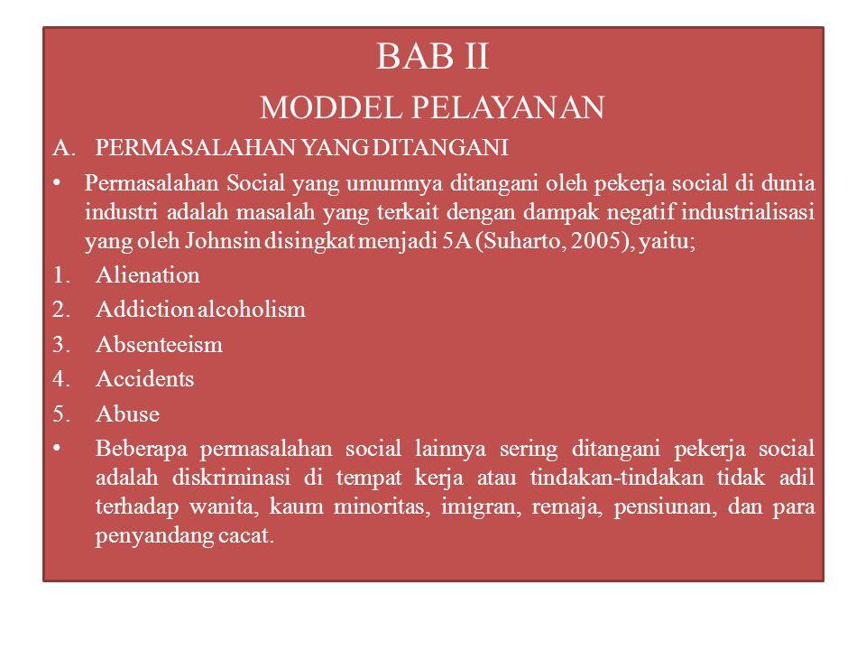 BAB II MODDEL PELAYANAN A.PERMASALAHAN YANG DITANGANI Permasalahan Social yang umumnya ditangani oleh pekerja social di dunia industri adalah masalah