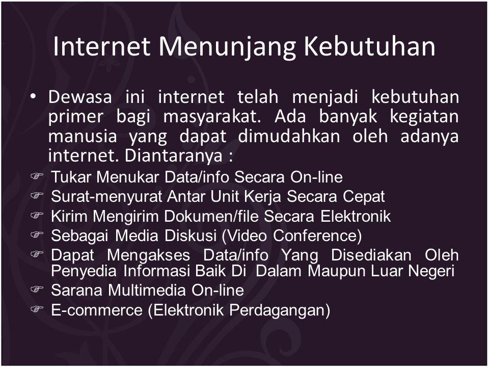 Internet Menunjang Kebutuhan Dewasa ini internet telah menjadi kebutuhan primer bagi masyarakat.