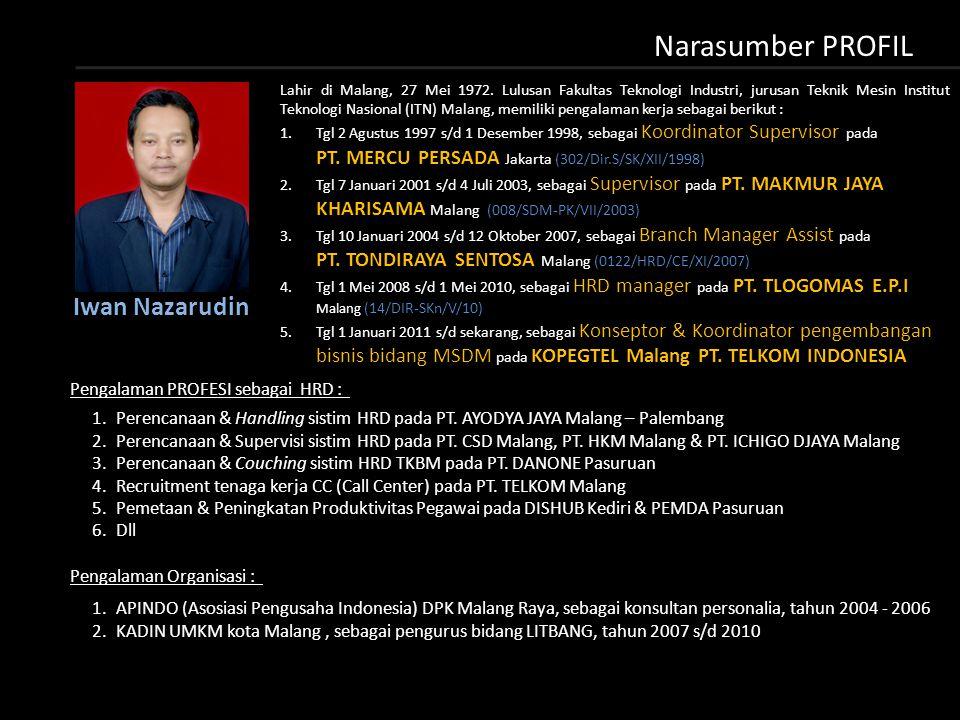 Narasumber PROFIL Lahir di Malang, 27 Mei 1972.
