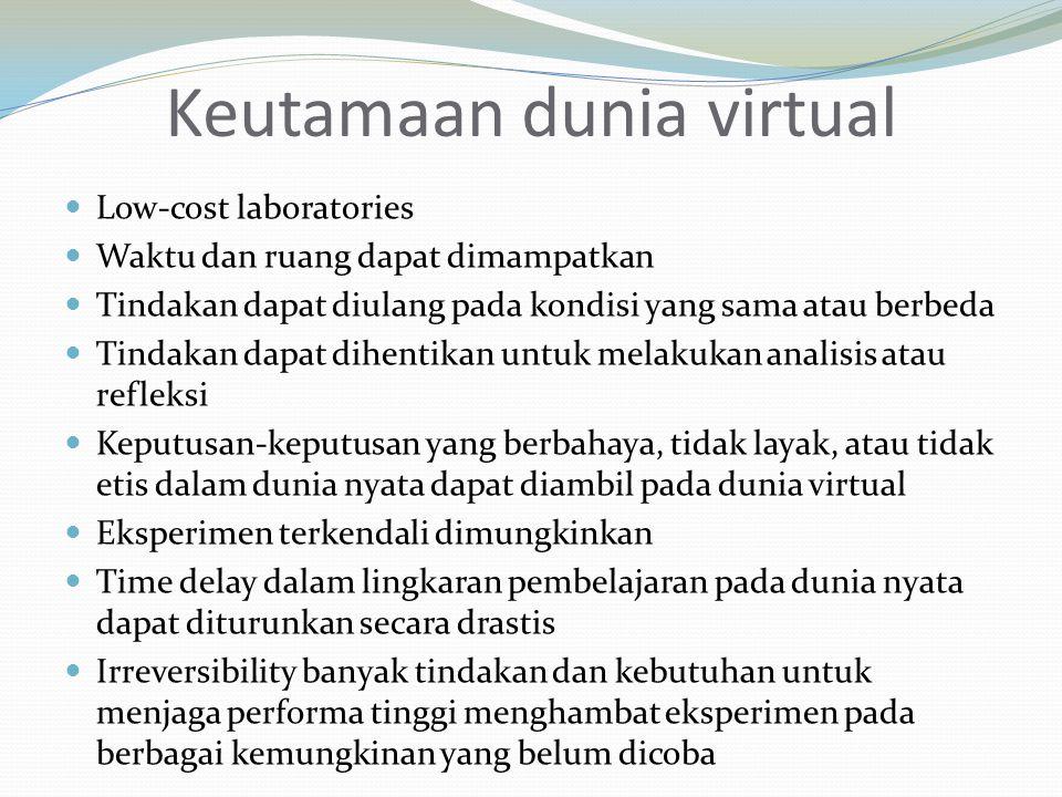 Keutamaan dunia virtual Low-cost laboratories Waktu dan ruang dapat dimampatkan Tindakan dapat diulang pada kondisi yang sama atau berbeda Tindakan dapat dihentikan untuk melakukan analisis atau refleksi Keputusan-keputusan yang berbahaya, tidak layak, atau tidak etis dalam dunia nyata dapat diambil pada dunia virtual Eksperimen terkendali dimungkinkan Time delay dalam lingkaran pembelajaran pada dunia nyata dapat diturunkan secara drastis Irreversibility banyak tindakan dan kebutuhan untuk menjaga performa tinggi menghambat eksperimen pada berbagai kemungkinan yang belum dicoba