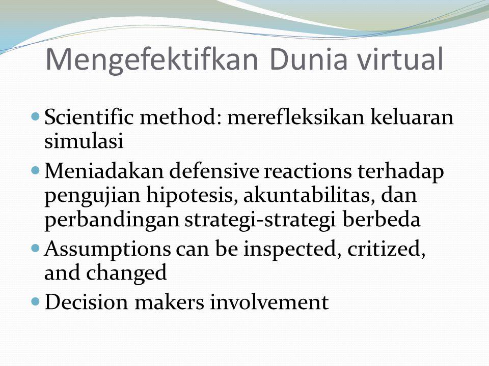 Mengefektifkan Dunia virtual Scientific method: merefleksikan keluaran simulasi Meniadakan defensive reactions terhadap pengujian hipotesis, akuntabil