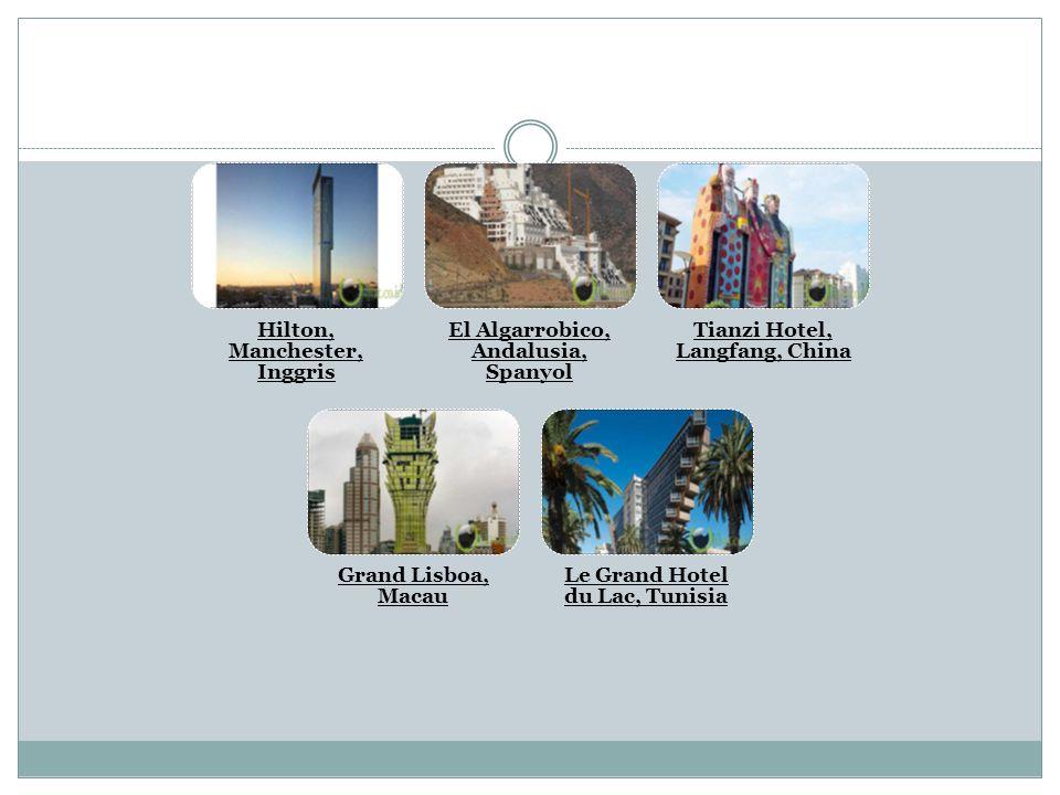 Hilton, Manchester, Inggris El Algarrobico, Andalusia, Spanyol Tianzi Hotel, Langfang, China Grand Lisboa, Macau Le Grand Hotel du Lac, Tunisia