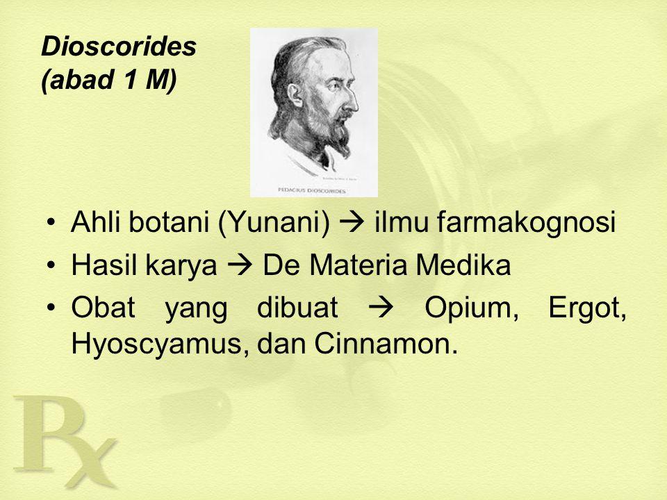 TOKOH-TOKOH BESAR FARMASI  Hipocrates (460-370 SM) Bapak Ilmu Kedokteran menerangkan obat secara rasional, dan menyusun sistematika pengetahuan kedokteran, serta meletakkan pekerjaan kedokteran pada suatu etik yang tinggi.