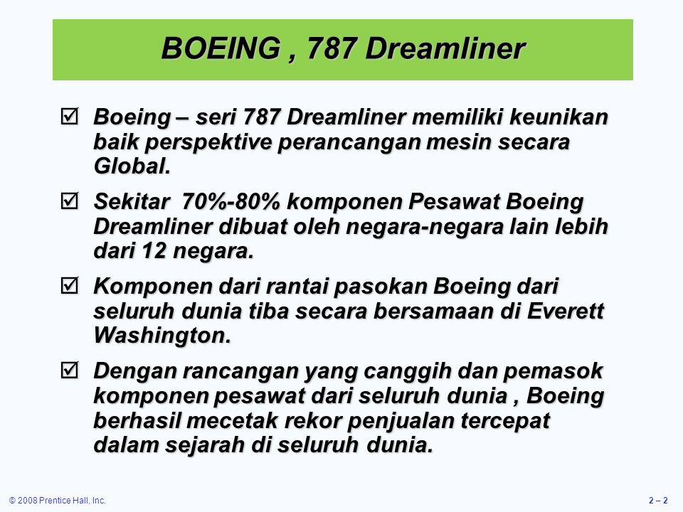 © 2008 Prentice Hall, Inc.2 – 2 BOEING, 787 Dreamliner  Boeing – seri 787 Dreamliner memiliki keunikan baik perspektive perancangan mesin secara Global.