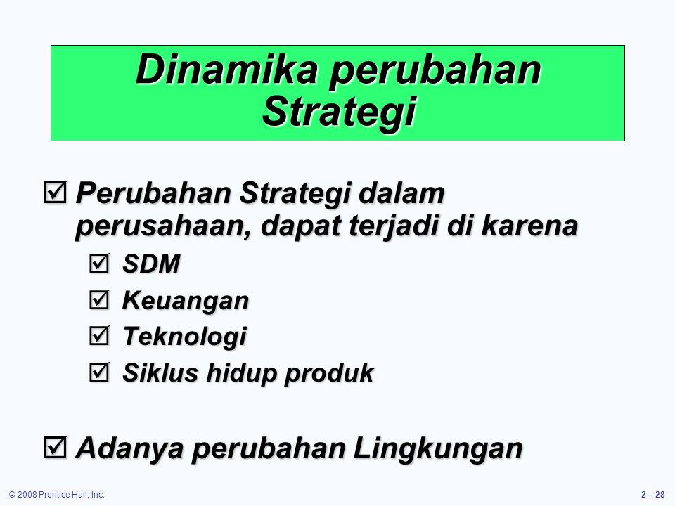 © 2008 Prentice Hall, Inc.2 – 28 Dinamika perubahan Strategi  Perubahan Strategi dalam perusahaan, dapat terjadi di karena  SDM  Keuangan  Teknologi  Siklus hidup produk  Adanya perubahan Lingkungan