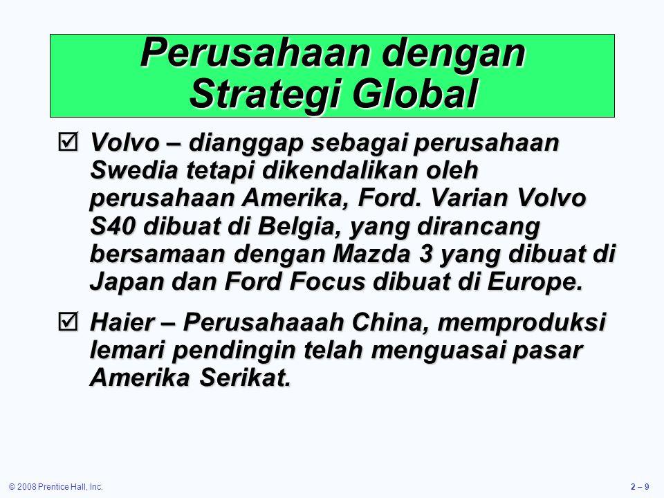 © 2008 Prentice Hall, Inc.2 – 10 Pandangan Global mengenai Operasi Alasan operasi bisnis Domestik menjadi International 1.Mengurangi Biaya (upah,pajak,tarif, dll.).