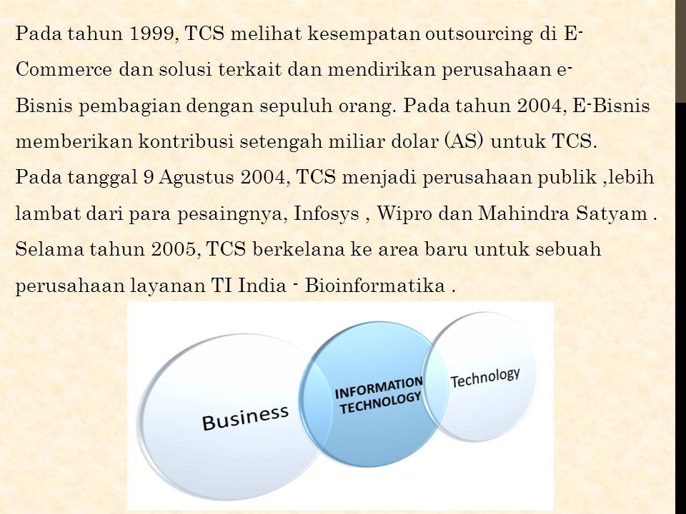 Pada tahun 1999, TCS melihat kesempatan outsourcing di E- Commerce dan solusi terkait dan mendirikan perusahaan e- Bisnis pembagian dengan sepuluh ora