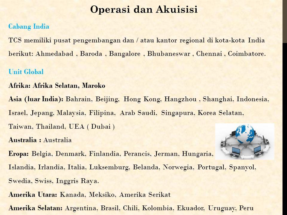 Operasi dan Akuisisi Unit Global Afrika: Afrika Selatan, Maroko Asia (luar India): Bahrain, Beijing, Hong Kong, Hangzhou, Shanghai, Indonesia, Israel,