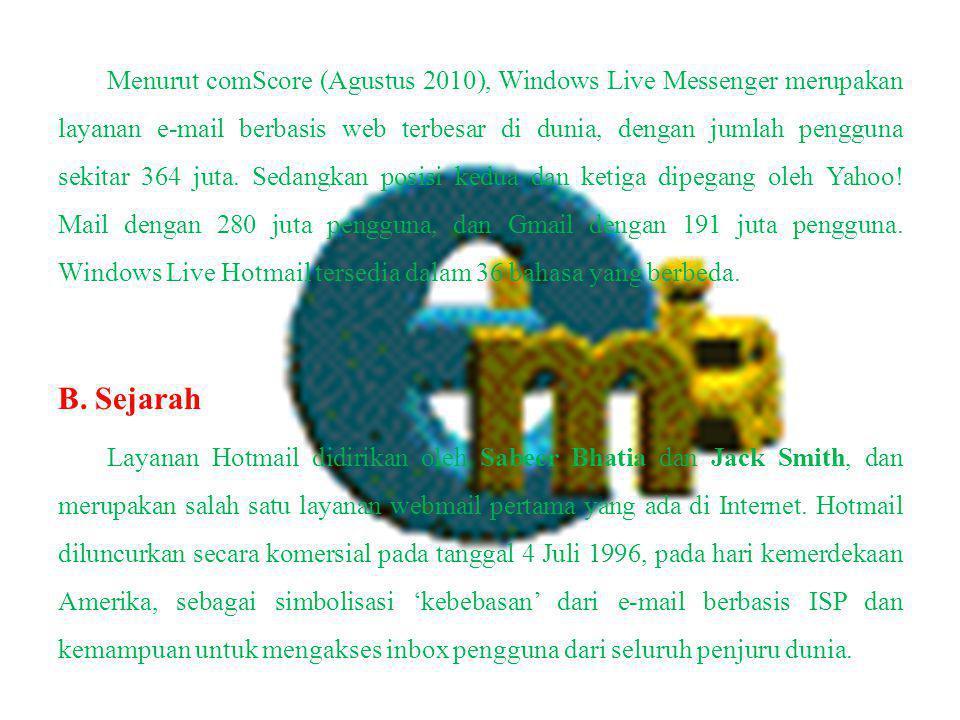 Menurut comScore (Agustus 2010), Windows Live Messenger merupakan layanan e-mail berbasis web terbesar di dunia, dengan jumlah pengguna sekitar 364 juta.
