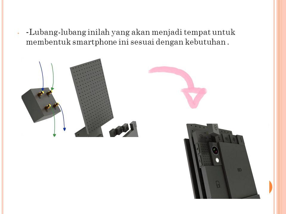 - - Lubang-lubang inilah yang akan menjadi tempat untuk membentuk smartphone ini sesuai dengan kebutuhan.