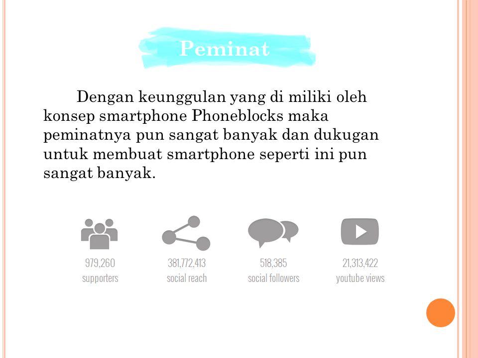 Dengan keunggulan yang di miliki oleh konsep smartphone Phoneblocks maka peminatnya pun sangat banyak dan dukugan untuk membuat smartphone seperti ini