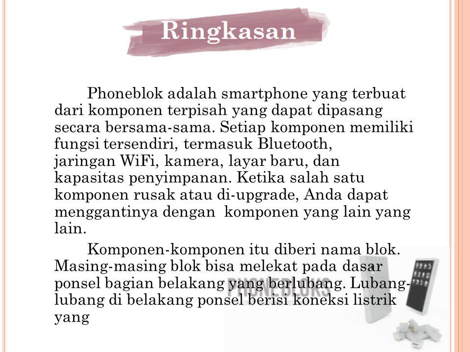 Phoneblok adalah smartphone yang terbuat dari komponen terpisah yang dapat dipasang secara bersama-sama. Setiap komponen memiliki fungsi tersendiri, t