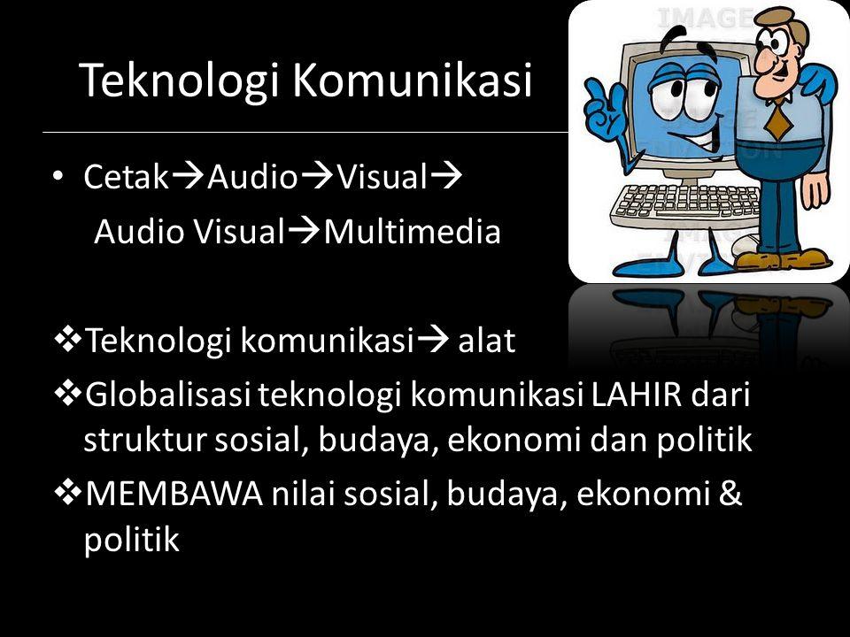 Teknologi Komunikasi Cetak  Audio  Visual  Audio Visual  Multimedia  Teknologi komunikasi  alat  Globalisasi teknologi komunikasi LAHIR dari st