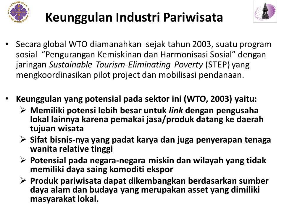 Keunggulan Industri Pariwisata Secara global WTO diamanahkan sejak tahun 2003, suatu program sosial Pengurangan Kemiskinan dan Harmonisasi Sosial dengan jaringan Sustainable Tourism-Eliminating Poverty (STEP) yang mengkoordinasikan pilot project dan mobilisasi pendanaan.