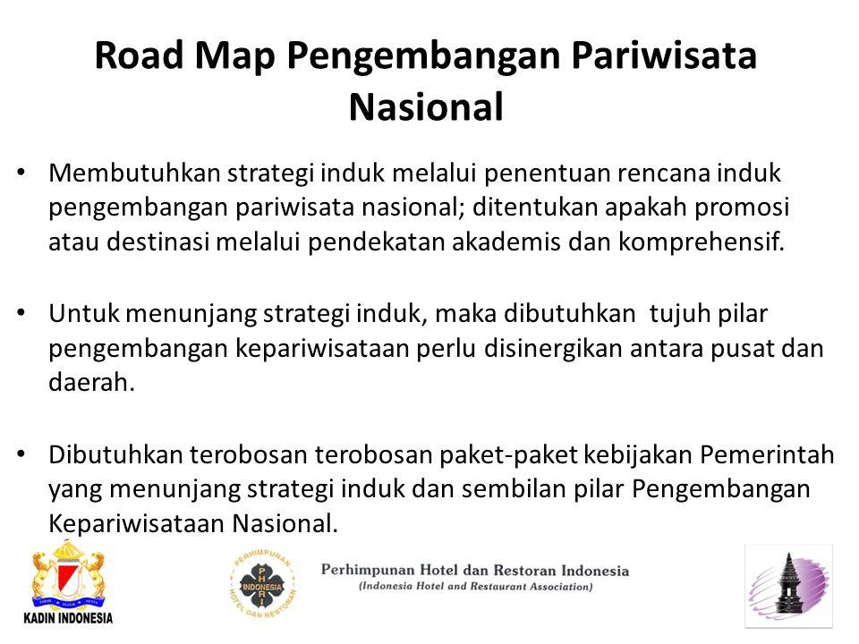 Road Map Pengembangan Pariwisata Nasional Membutuhkan strategi induk melalui penentuan rencana induk pengembangan pariwisata nasional; ditentukan apakah promosi atau destinasi melalui pendekatan akademis dan komprehensif.