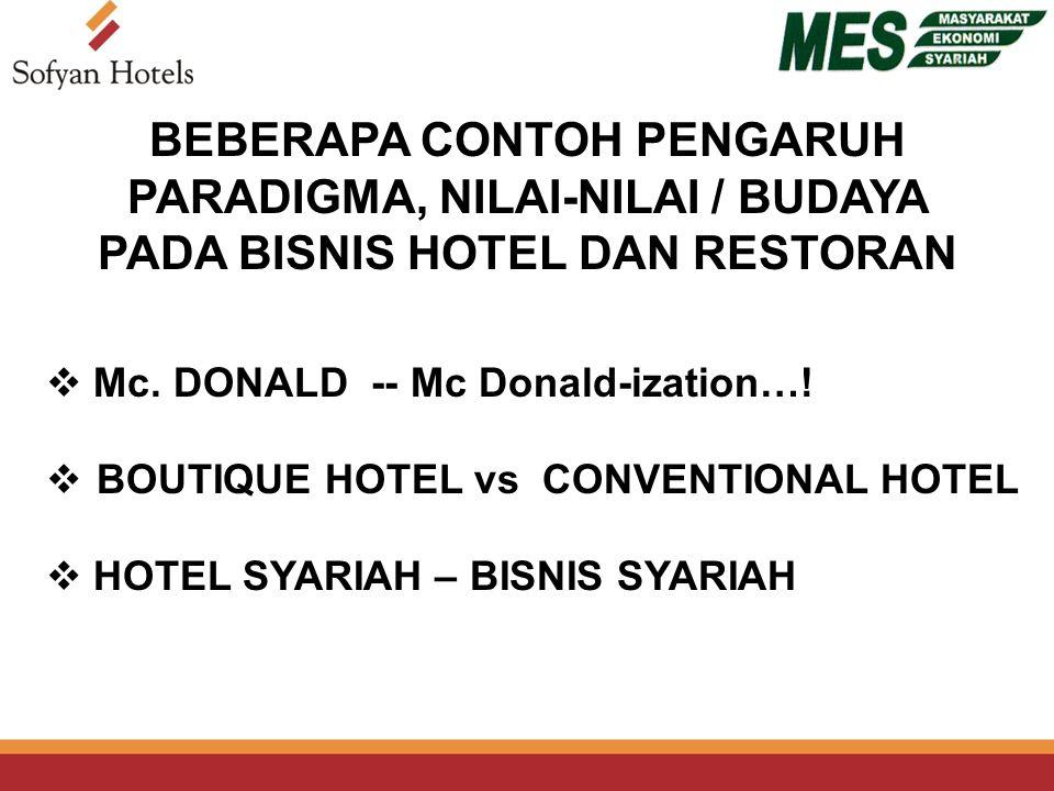 BEBERAPA CONTOH PENGARUH PARADIGMA, NILAI-NILAI / BUDAYA PADA BISNIS HOTEL DAN RESTORAN  BOUTIQUE HOTEL vs CONVENTIONAL HOTEL  Mc.