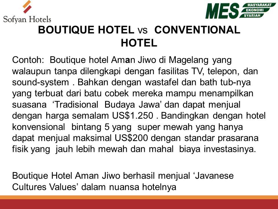 BOUTIQUE HOTEL vs CONVENTIONAL HOTEL Contoh: Boutique hotel Aman Jiwo di Magelang yang walaupun tanpa dilengkapi dengan fasilitas TV, telepon, dan sound-system.